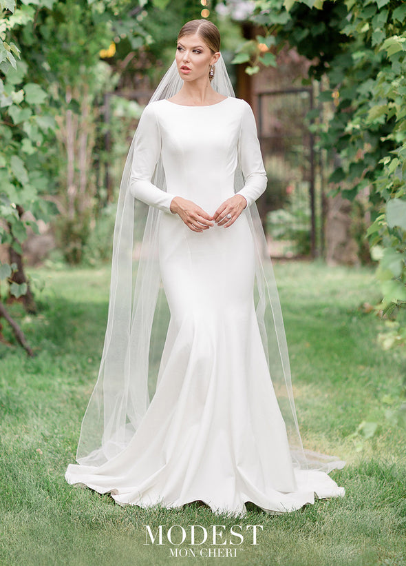 A dynamic statement of who you are, our modest wedding dresses represent your beliefs while letting your true beauty, femininity and personality shine. elegant princess seams cathedral veil classic long sleeves #utahbridalshop #weddingdresses #weddingaccessories #bridalcloset #classyweddings #brides #utahweddings #designerweddinggowns #modestgowns #trendyweddingdresses #uniqueweddinggowns