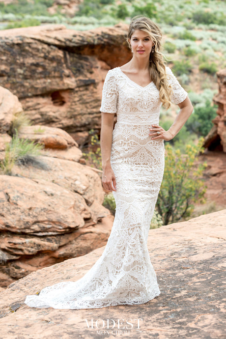 All over lace over tulle sheath bridal gown features elbow length sleeves, front curved V-neckline, lace band detail at natural waist, stretch lining, chapel train. #utahbridalshop #weddingdresses #weddingaccessories #bridalcloset #classyweddings #brides #utahweddings #designerweddinggowns #modestgowns #trendyweddingdresses #uniqueweddinggowns