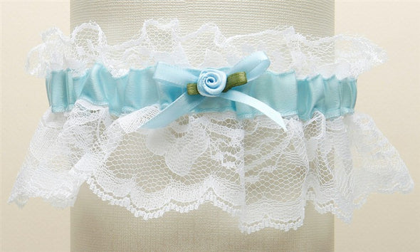 "Features antique blue ruffled lace with a center satin band and measure 2"" high. These garters are available in all white, all ivory, white with blue or ivory with blue. They come beautifully boxed and are hand-crafted in the USA. stunning classy satin band assortments available utah bridal store wedding shop special garter floral center baby pearls #bridalveil #weddingaccessories #utah #utahweddings #bridal #bride #formalveil #bridalshop #wedding #veil #brideaccessories"