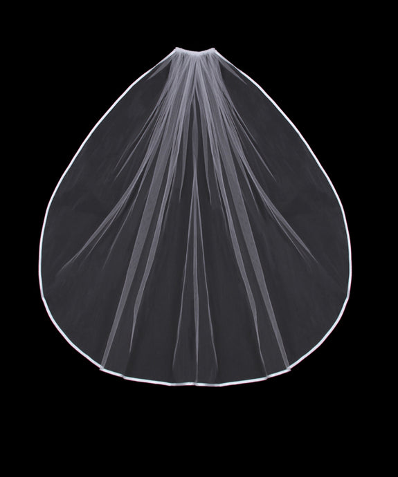 V02SW Satin Edge Single Tier Veil
