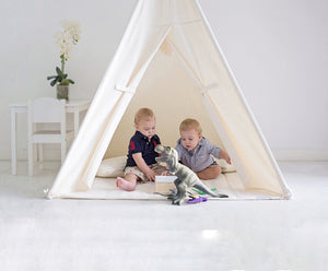 Natural Canvas teepee play tent inspires the imaginations of children.