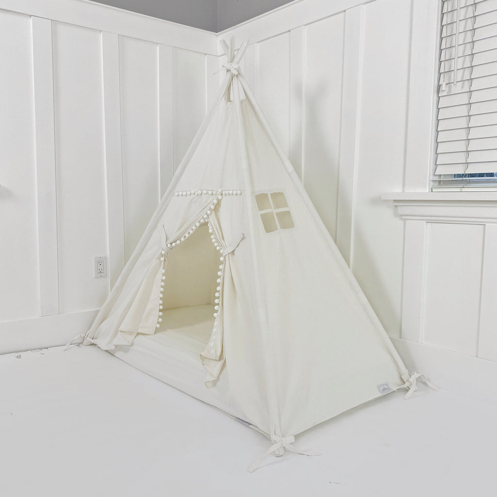 Play Tent Canopy Bed in Natural Canvas with POM POM TRIM