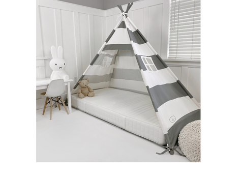 Play Tent Canopy Bed in Grey and White Stripe