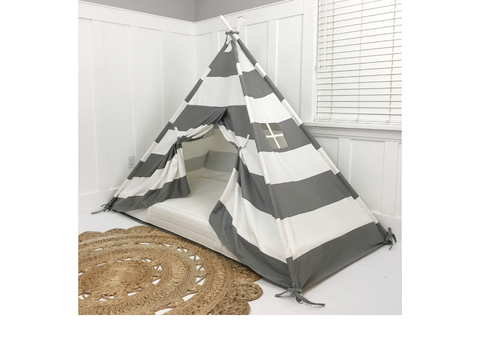 Play Tent Canopy Bed in Grey and White Stripe WITH Doors