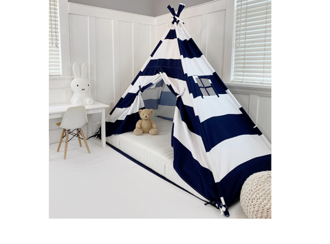 Play Tent Canopy Bed in Navy Blue and White Stripe Canvas WITH Doors