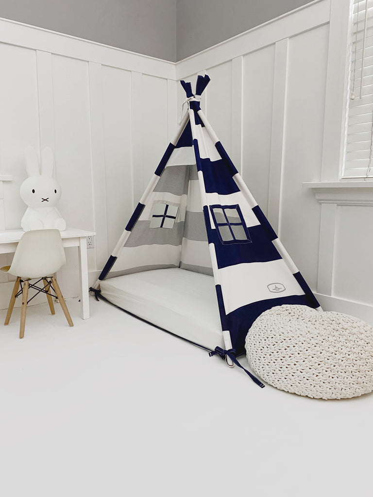 Play Tent Canopy Bed in Navy Blue and White Stripe Canvas