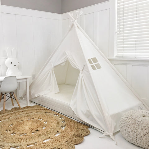 Play Tent Canopy Bed in Cream Canvas with Doors