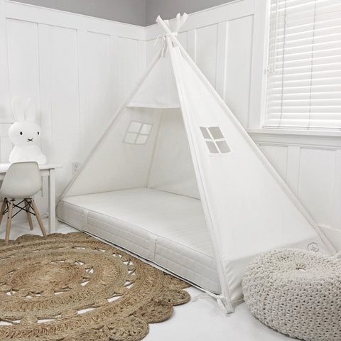 Play Tent Canopy Bed in 100% Cotton Cream Canvas