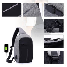 Load image into Gallery viewer, Cross body Chest bag w/ USB Charger