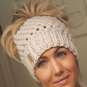 Warm Knit Fashion Ponytail Beanie