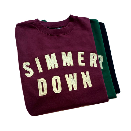 Simmer Down Felt Patch Crewneck Sweatshirts