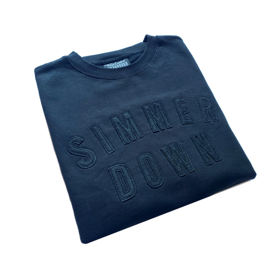 Simmer Down Felt Patch Crewneck Sweatshirt black