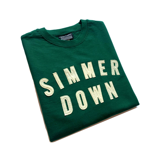 Simmer Down Felt Patch Crewneck Sweatshirt green