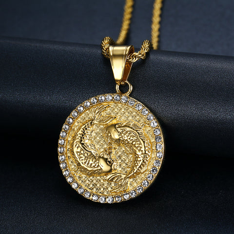 Men's Pisces Gold/Crystal (The fish) necklace