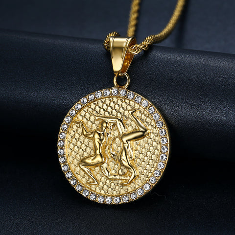 Men's Gold/Crystal  Gemini (The Twins) necklace