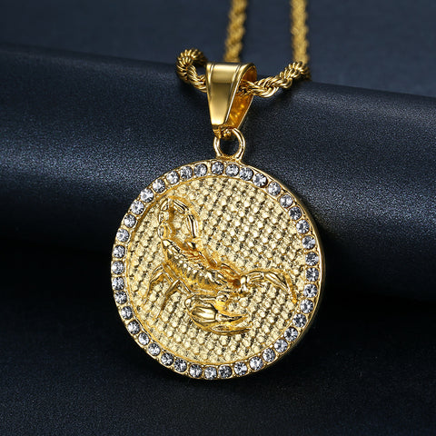 Men's Scorpio Gold/Crystal (The Scorpion) necklace