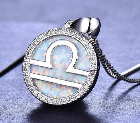 Libra 925 silver opal necklace