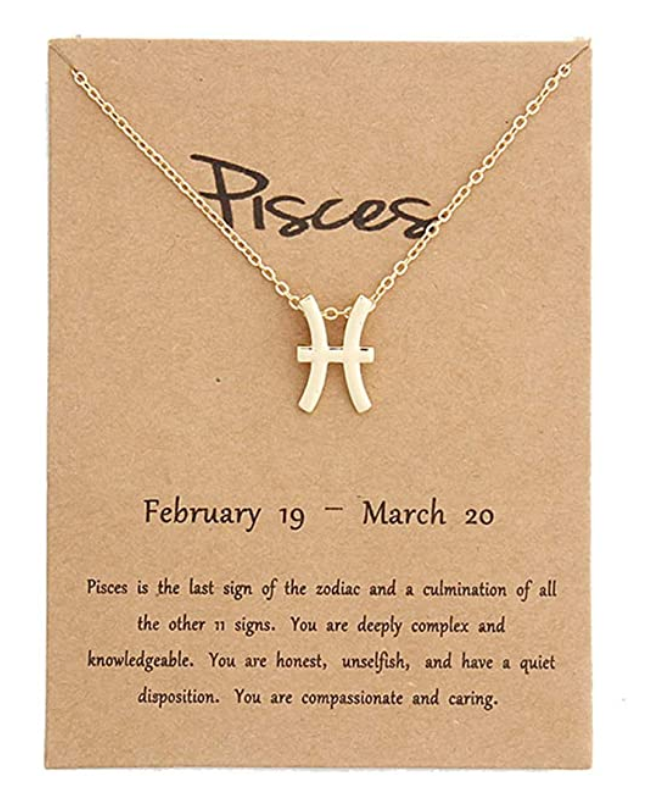 Pisces pendant necklace with card