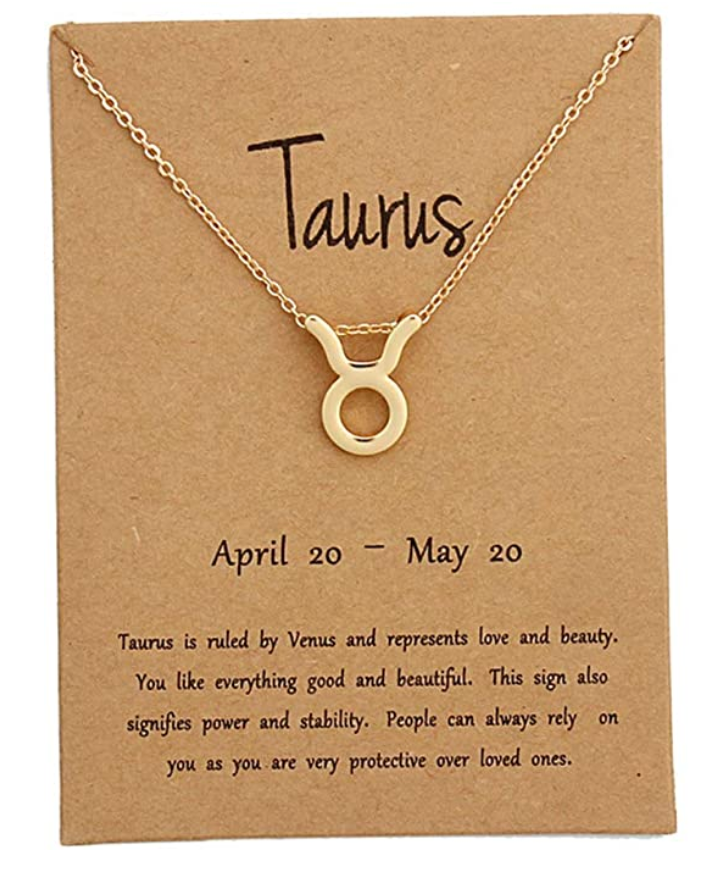 Taurus pendant necklace with card