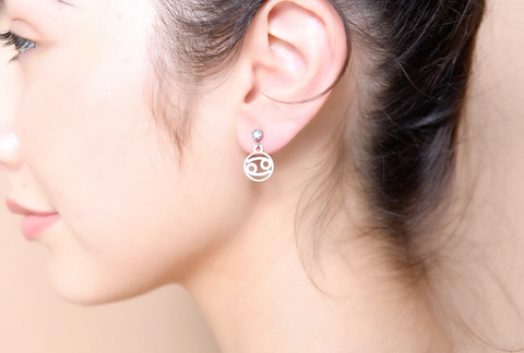 Cancer stud hoop earrings
