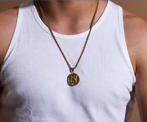 Men's Taurus Gold/Crystal necklace