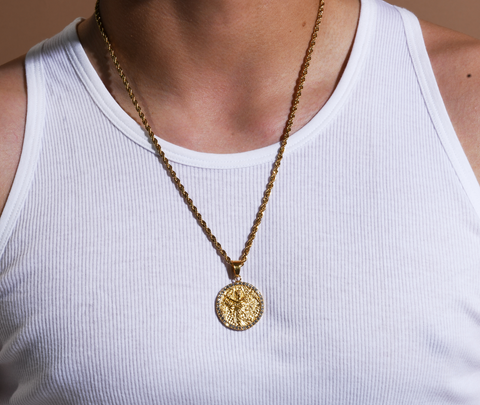 Men's Virgo Gold/Crystal (The Virgin) necklace
