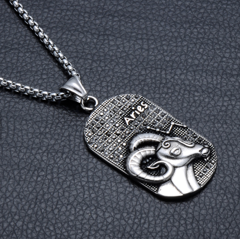 Aries 3D Dog tag necklaces