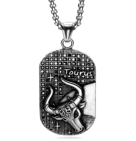Taurus 3D dog tag necklaces