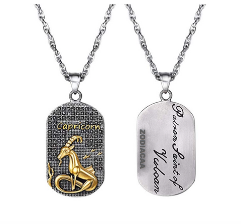Capricorn 3D dog tag necklaces