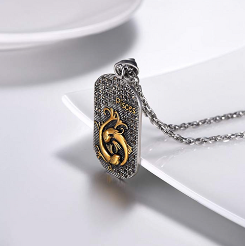 Pisces 3D dog tag necklaces