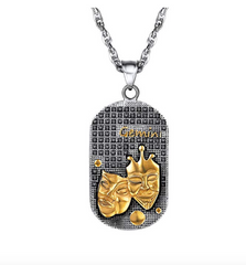 Gemini 3D Dog tag necklaces