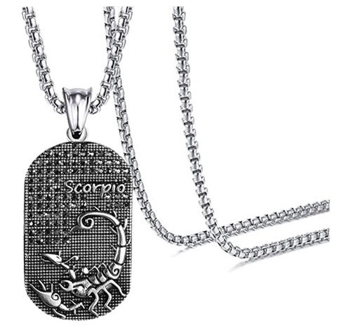 Scorpio 3D Dog tag necklaces