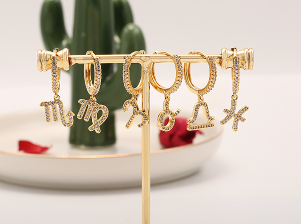Pisces pave mini hoop earrings