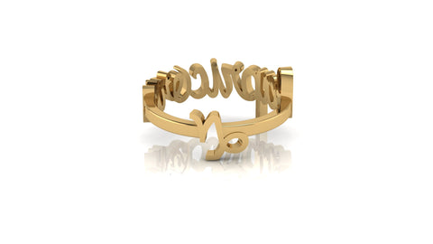 Capricorn gold reversible ring