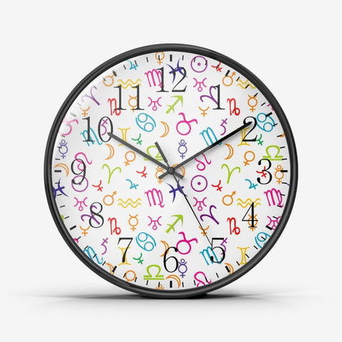 Colorful Zodiac Wall Clock Silent Non Ticking Quality Quartz