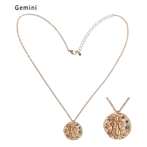 Gemini twins gold necklace
