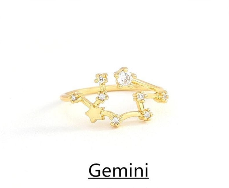 Select your sign-Constellation Crystal Zodiac Adjustable ring