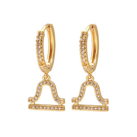 Libra pave mini hoop earrings