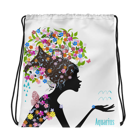 Aquarius Floral Drawstring Bag