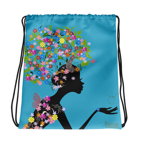 Taurus Floral Blue Drawstring bag