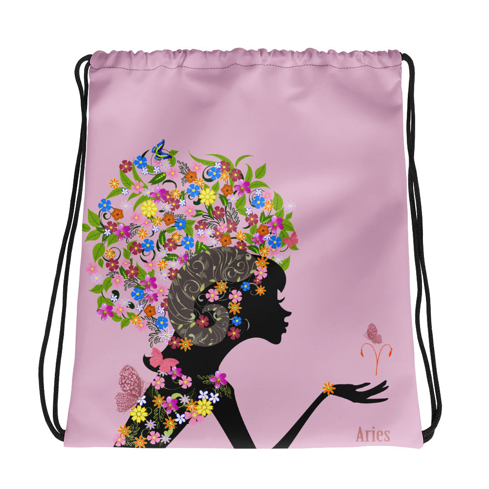 Aries Floral Pink Drawstring bag