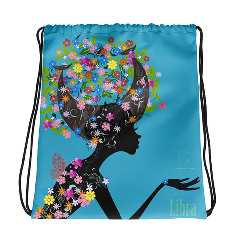 Libra Floral Blue Drawstring bag