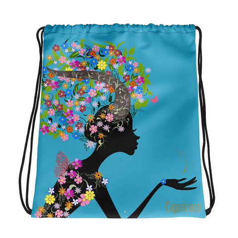 Capricorn Floral Blue Drawstring bag