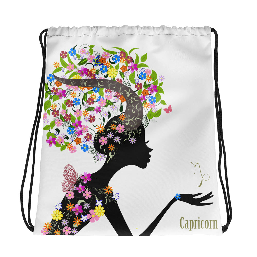 Capricorn Floral Drawstring Bag