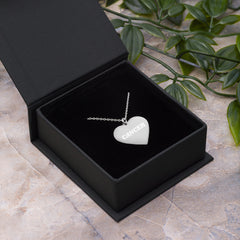 Cancer Engraved Silver Heart Necklace