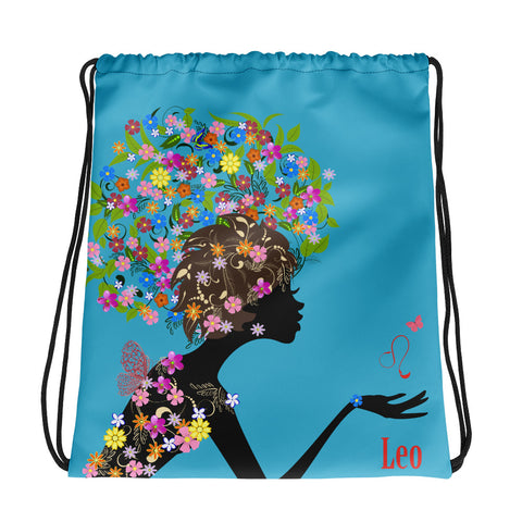 Leo Floral Blue Drawstring bag