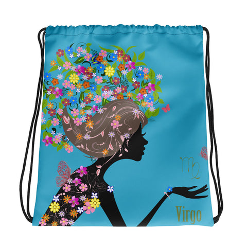 Virgo Floral Blue Drawstring bag
