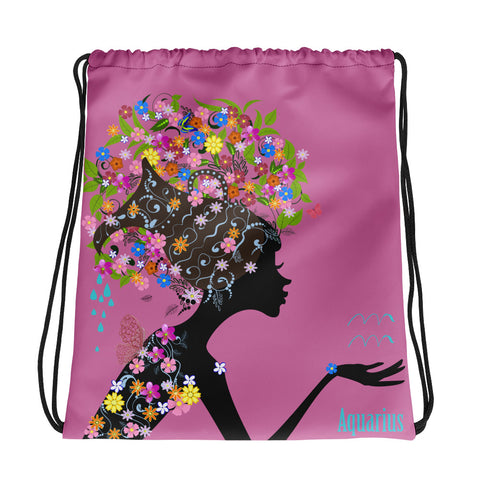 Aquarius Floral Pink Drawstring bag