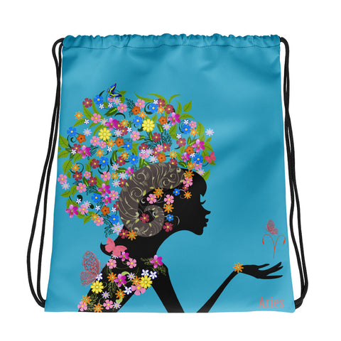 Aries Floral Blue Drawstring bag