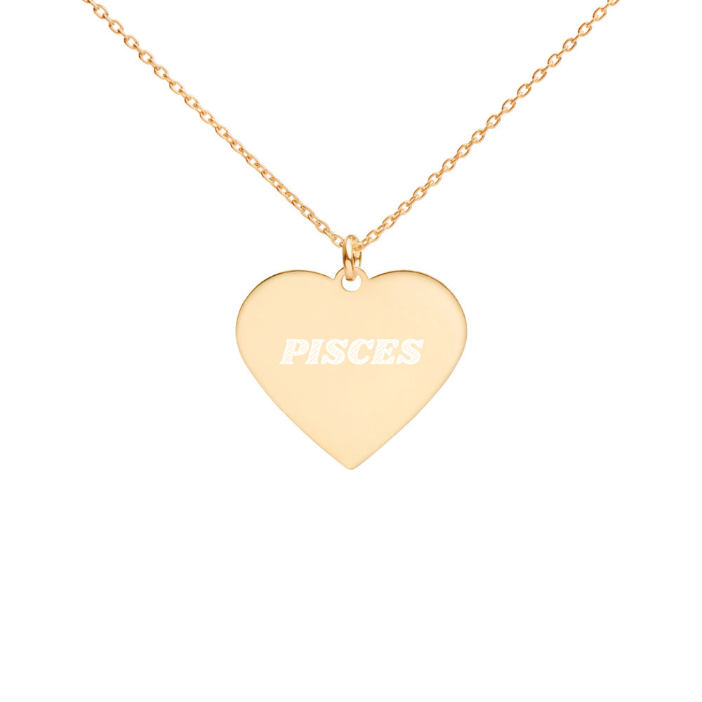 Pisces Engraved Silver Heart Necklace